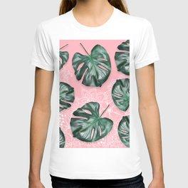 Modern 3d green tropical monstera leaf photo on blush pink white floral illustration T-shirt
