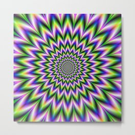 Star Flower in Green Blue and Violet Metal Print