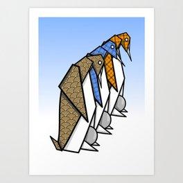 Origami Penguins Art Print