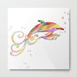 Mom and Baby Dolphin  Metal Print