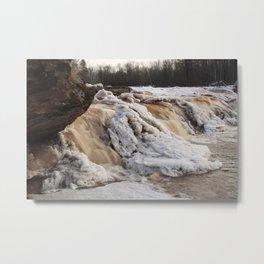 Wintry Bonanza Falls  Metal Print