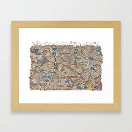 Illustrated map of Berlin-Mitte. Sepia Framed Art Print