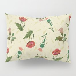 Poppy, thistle and datura flower on a light yellow grassy background. Pillow Sham