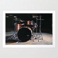 Drums in a parking garage. Art Print