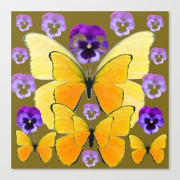 SPRING PURPLE PANSY FLOWERS & YELLOW BUTTERFLIES GARDEN Canvas Print
