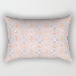 Pastel coral blue orange abstract cross stich pattern Rectangular Pillow
