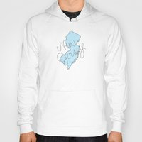 new jersey Hoodies featuring New Jersey - Blue by Oh Happy Roar - Emily J. Stivers