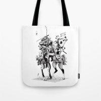 samurai Tote Bags featuring Samurai! by HELLLOJOJO
