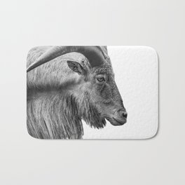 Minimalism Animal Photography | Mountain Goat | Black and White Minimal Art Bath Mat