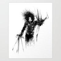 edward scissorhands Art Prints featuring Edward Scissorhands by Karbon-K