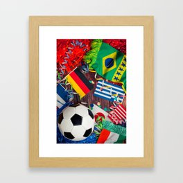 International Soccer Collage With Fan Items Framed Art Print