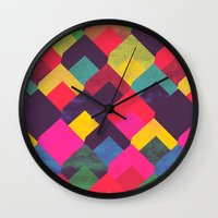 georgiana paraschiv Wall Clocks featuring colour + pattern 11 by Georgiana Paraschiv