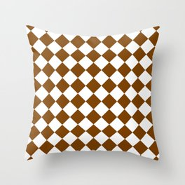 Diamonds - White and Chocolate Brown Throw Pillow