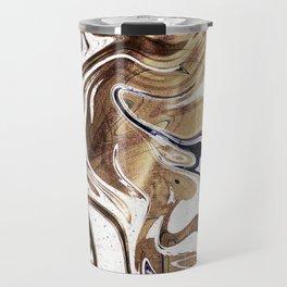 Metallic Gold Purple White Marble Swirl Travel Mug
