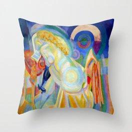 """Robert Delaunay """"Nu à la toilette (Nu à la coiffeuse)"""" (Musée 'Art Moderne de la Ville de Paris) Throw Pillow"""