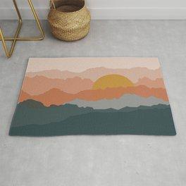 Minimal abstract sunset mountains Rug