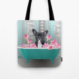 Turquoise Bathtub - French Bulldog Lotus Flower Tote Bag