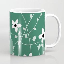 Cute green and white floral pattern home decor doodling art handmade print Coffee Mug