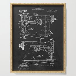 Sewing Machine 1916 Patent Print Serving Tray