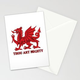 Thou Art Mighty Red Dragon Welsh Rugby Stationery Cards