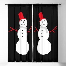 Christmas Snowman-Black Blackout Curtain