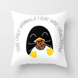 The Only Animals I Eat Are Crackers Throw Pillow