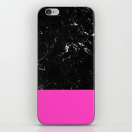 Pink Meets Black Marble #1 #decor #art #society6 iPhone Skin