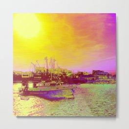 Neon Fishing through Rose Colored Glasses Metal Print