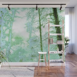 Magical forest in frosty greens Wall Mural