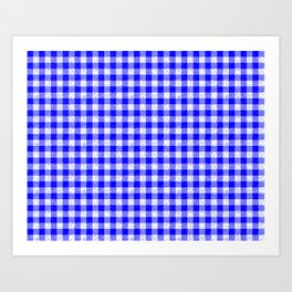 Gingham Blue and White Pattern Art Print