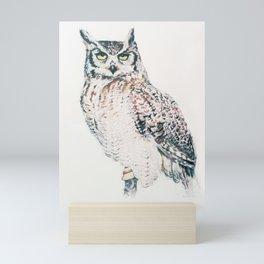 Great Horned Owl - watercolour bird portrait Mini Art Print
