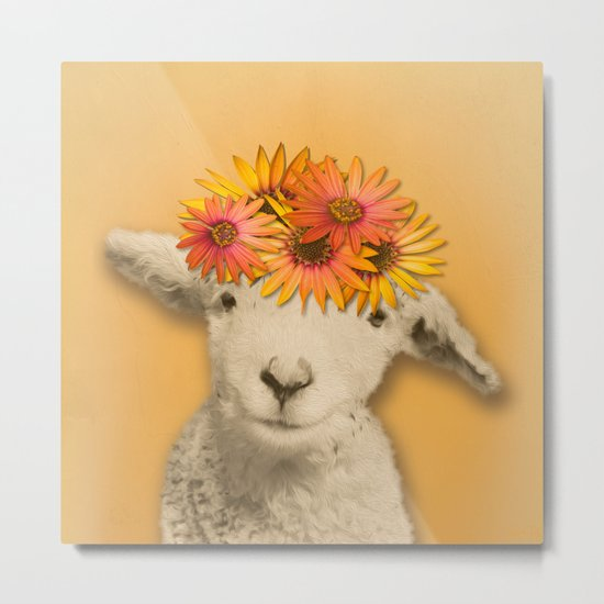 Daisies Sheep Girl Portrait, Mustard Yellow Texturized Backgroud Metal Print