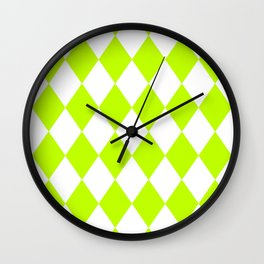 Diamonds (Lime/White) Wall Clock