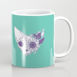 Green and Purple Sunflower Sphynx Cat Skull - Floral Gothic Coffee Mug