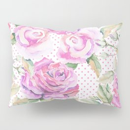 Watercolor hand painted pink lavender roses polka dots Pillow Sham