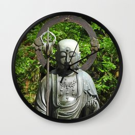 serene bronze Buddha on Mount Koya Wall Clock