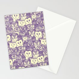 just owls purple cream Stationery Cards