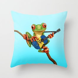 Tree Frog Playing Acoustic Guitar with Flag of Barbados Throw Pillow