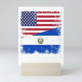 Half Salvadoran Flag T-Shirt  Vintage El Salvador USA Gift Mini Art Print