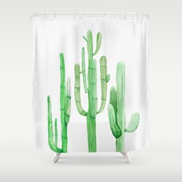 Three Amigos Cacti Green Shower Curtain