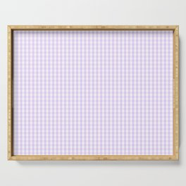 Chalky Pale Lilac Pastel and White Mini Gingham Check Plaid Serving Tray