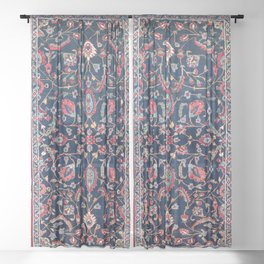 Heriz Azerbaijan North West Persian Rug Print Sheer Curtain