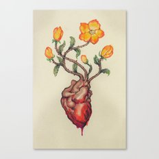 THIS BLEEDING BLOSSOMING HEART: ORANGE WILD ROSE Canvas Print