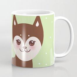 Merry Christmas New Year's card design funny brown husky dog, Kawaii face Coffee Mug