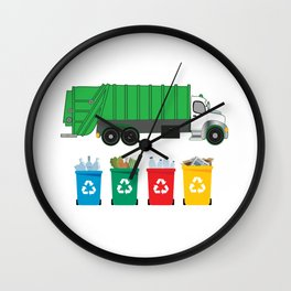 Recycling Environmentalist Recycle Reuse Reduce Garbage Truck Wall Clock