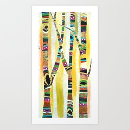 Runk Trees Birch Forest with Nest Art Print