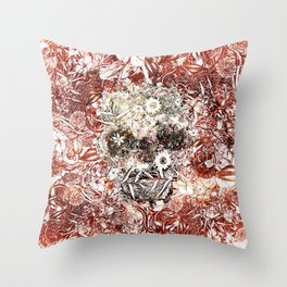 Floral Skull Red Throw Pillow