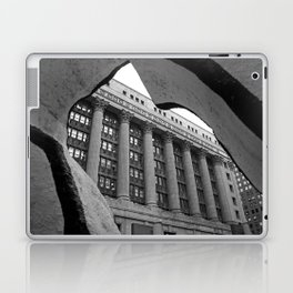 Looking Through A Building Black and White Photo, Chicago Architecture Laptop & iPad Skin