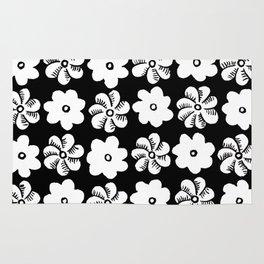 Floral design Black & White Flowers print Rug
