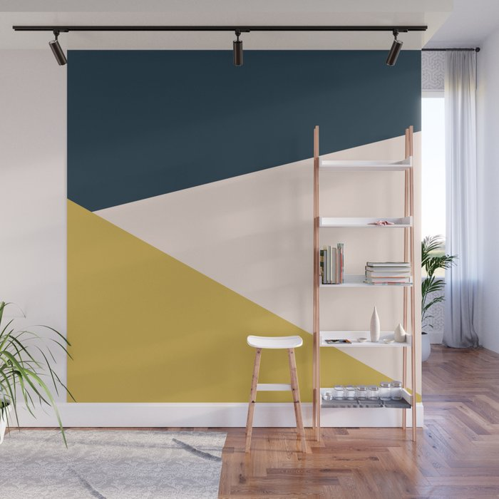 Wall Mural | Jag 2. Minimalist Angled Color Block In Navy Blue, Blush Pink, And Mustard Yellow by Kierkegaard Design Studio - 8' x 8' - Society6